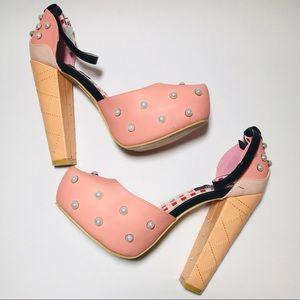 Shoes - Iron Fist Pink Pearl Chunky Platform Heels